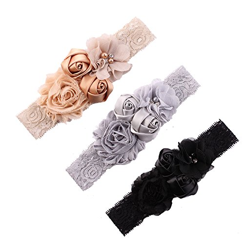 Ever Fairy Chiffon Lace Flower Baby Girls Turban Headband Head Wrap With Pearl