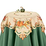 Collections Etc Fall Embroidered Pumpkin And Leaves Table Linens, Square