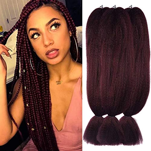 Burgundy Synthetic Fiber - Wome Hair 3Pcs/Lot 48inch Kanekalon Synthetic Jumbo Braiding Hair High Temperature Fiber Crochet Braids Extensions(Dark red 99J,48