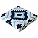Stroller Nursery Cotton Baby Blanket, Navy blue and Turquoise, Turkish Delight, 30 x 40 inches