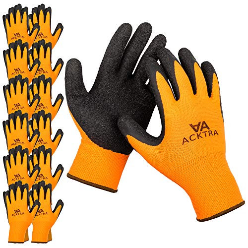(ACKTRA Coated Nylon Safety WORK GLOVES 12 Pairs, Knit Wrist Cuff, Multipurpose, for Men & Women, WG008 Orange Large)