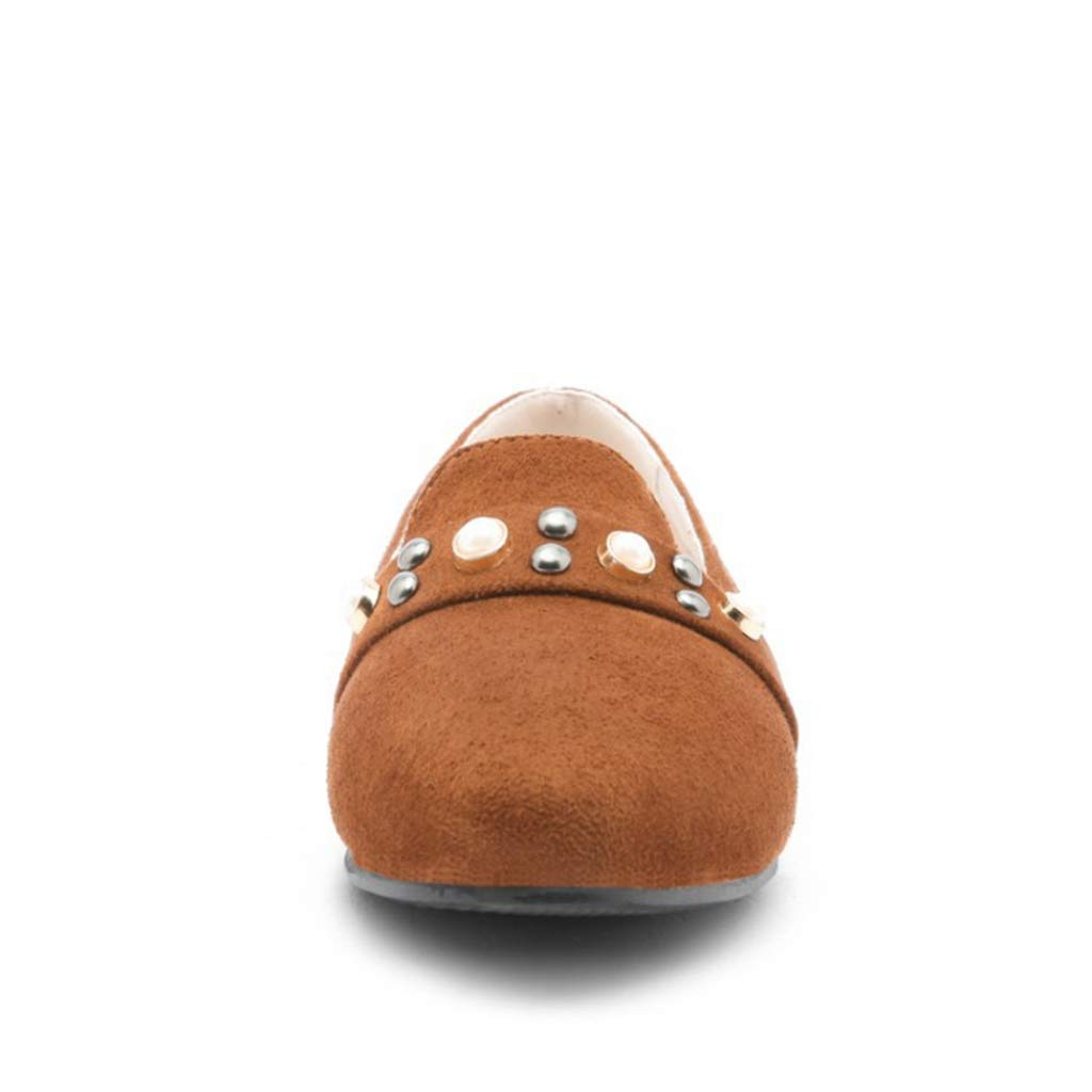 GIY Womens Soft Leather Loafer Pearl Comfort Round Toe Slip-on Driving Shoes Casual Flats Loafers Brown