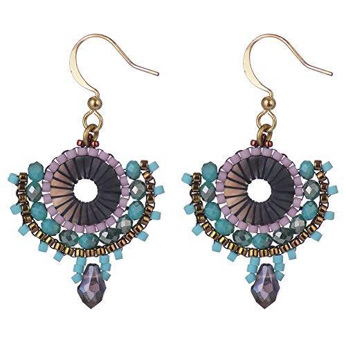 BeadChica Handmade Dangle Earrings Tribal Style for Women Beadwork Jewelry Boho (Color 1)
