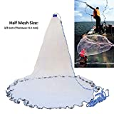4. Yeahmart American Saltwater Fishing Cast Net for Bait Trap Fish 4ft Radius with Heavy Duty Real Zinc Sinker Weights and Aluminum Frisbee, 3/8inch Mesh Size