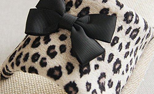Cattior Womens Léopard Maison De Larc Pantoufles Dames Pantoufles Noir