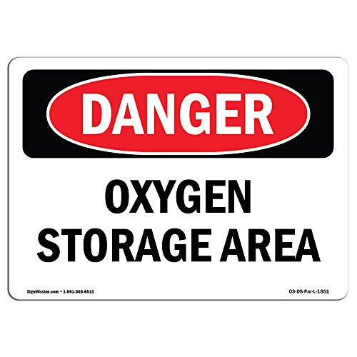 OSHA Danger Sign - Oxygen Storage Area | Choose from: Aluminum, Rigid Plastic Or Vinyl Label Decal | Protect Your Business, Construction Site, Warehouse & Shop Area | Made in The USA from SignMission
