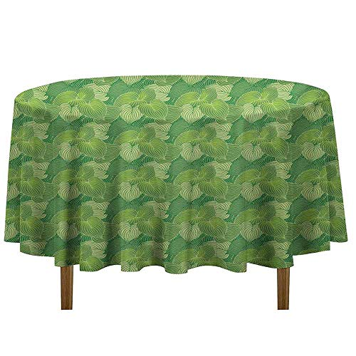 (Douglas Hill Green Easy Care Leakproof and Durable Tablecloth Abstract Hosta Plants Lush Forest Growth Leaves Ecology Jungle Theme Outdoor Picnic D35 Inch Fern Lime and Pale Green)