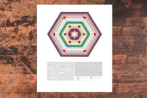 Southwestern Hexagon Ketubah | Jewish/Interfaith/Quaker Wedding Certificate | Hand-Painted Watercolor, Giclée Print by Tallulah Ketubahs