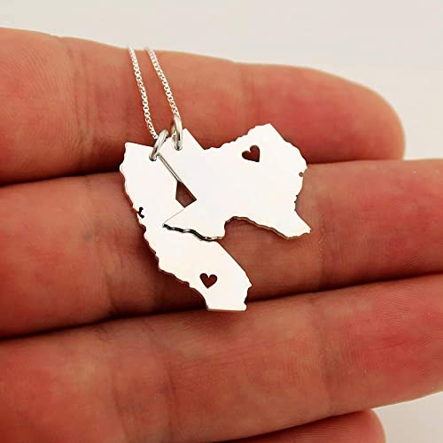 Silver Double State Necklace,Two State Necklace,Long Distance Love Gift,Any two states or Countries Necklace,Best Friendship Necklace