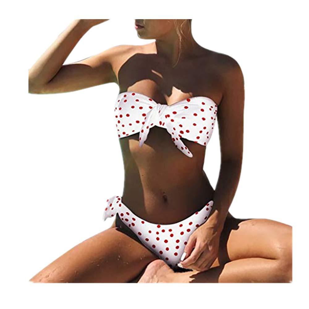 Bikini Sets for Women Summer Sexy Ladies Dot Printed Push-Up Padded Bow Two Piece Bikinin Set Set Swimwear Swimsuit Beachwear Red