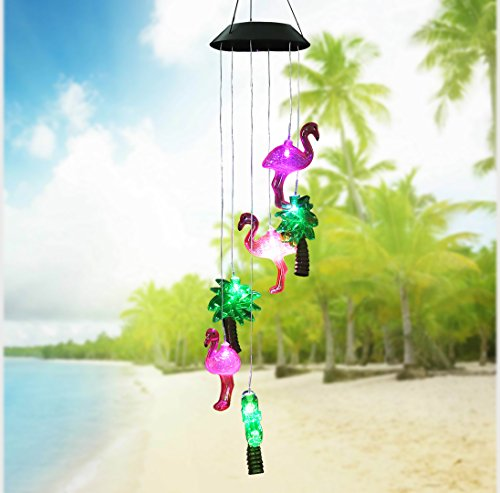 Changing Color Solar Powered Flamingo Tree Wind Chime Wind Moblie LED Light, Gzero Spiral Spinner Windchime Portable Outdoor Chime for Patio, Deck, Yard, Garden, - Flamingos Color