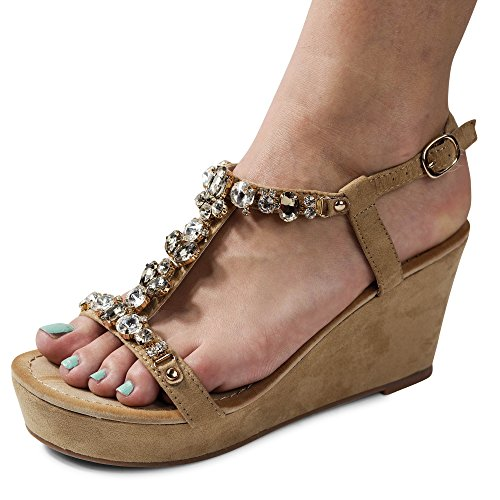 Schuhtraum Damen Sandalen Keilabsatz Sandaletten Glitzer High Heels Wedge ST918 Khaki