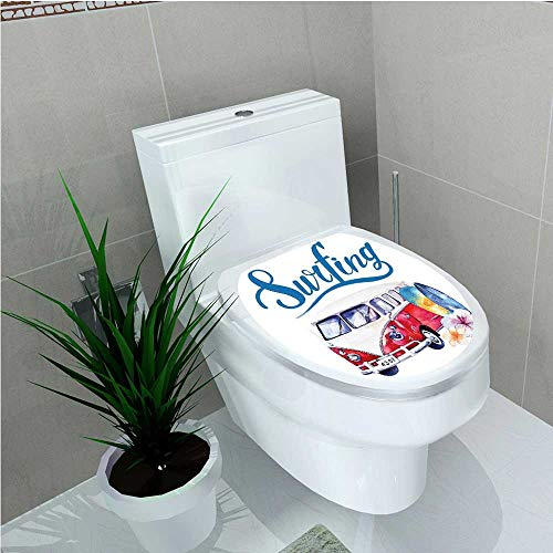 (PRUNUS Toilet Seat Decal Vinyl Collection Beach Holiday Tropical Travel Adventure Surfing Time Wagon Bus Shell Flower W14 x L14)