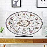iPrint LCD TV dust Cover Customizable,Zodiac Decor,Astrology Map with Descriptions compatibleecast Compatible Person Future Birth Natal Earth Theme,Multi,Graph Customization Design Compatible 37'' TV