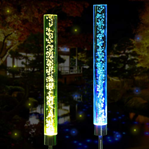 Solar Lights Outdoor - New Upgraded Garden Decor Acrylic Bubble Lights, Multi-Color Changing Solar Powered Garden Stake Lights for Patio, Pathway, Yard Decoration, Longer Working Time (2 Pcs)