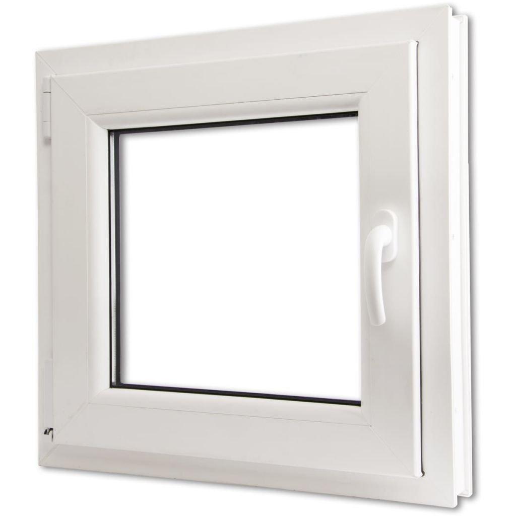 vidaXL Ventana Triple Acristalamiento Manilla Derecha PVC Blanco 600x600 mm