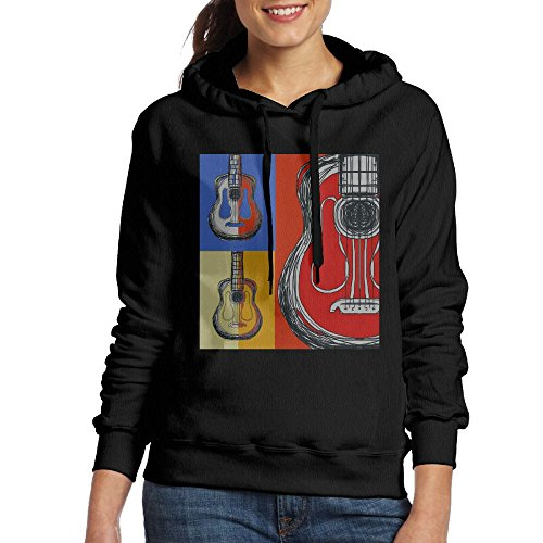 Ibanez Acoustic Blocks - Grhoodie1 Color Block Guitars Women's Cotton Long Sleeve Pullover Hooded Sweatshirt Black Size L