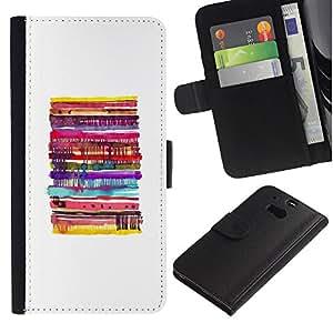 KingStore / Leather Etui en cuir / HTC One M8 / Pancake blanca minimalista Alimentos