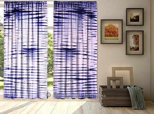 Indian Drape Handmade Tie Dye Shibori Indigo Blue Mandala Door Window Curtain Room Divider Valances 84 x 80