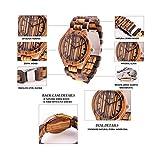REDEAR Mens Handmade Wooden Wrist Watch Quartz Bamboo Wood Watches Zebrawood Wristwatch Fathers Day Gift