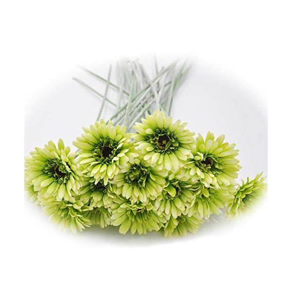 "cn-Knight Artificial Flower 12pcs 22"" Long Stem Silk Daisy Faux Mums Flower Chrysanth Gerbera for Wedding Bridal Bouquet Bridesmaid Home Decor Office Baby Shower Prom Centerpiece(Green)"