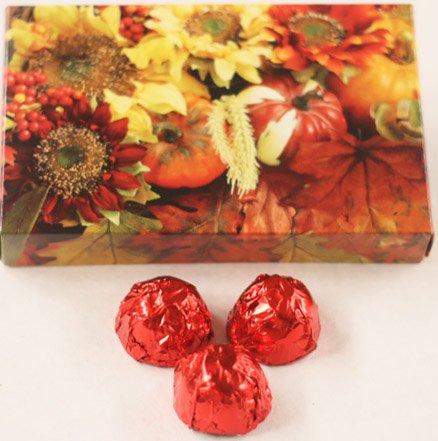 Scott's Cakes Dark Chocolate Covered Cherry Brandy Cherries in a 1 Pound Fall Leaf Box