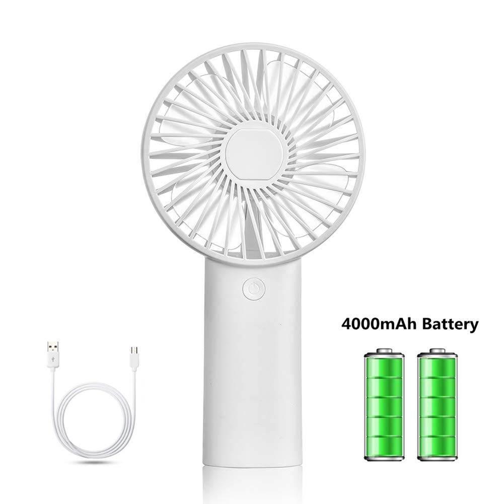 Happy-top Handheld Electric Mini Fan Portable Personal Fan USB Rechargeable 4000mAh Battery Operated Cooling Fan with 6-10 Hours Working Time, 3 Speed Settings for Home Office Outdoor Travel White