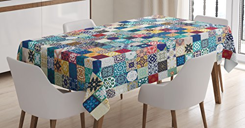 Ambesonne Moroccan Tablecloth, Oriental Eastern Pattern with Grid Style Patchwork Ornament Tiles Design Asian, Dining Room Kitchen Rectangular Table Cover, 52