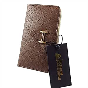 Chic Designer Style Mock Croc Leather Flip Case Cover Wallet Purse Clutch for Samsung Galaxy S3 III i9300 - Coffee