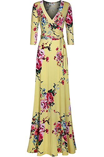 Bon Rosy Women's Stretchy and Silky 3/4 Sleeve Deep V-Neck Floral Printed Maxi Faux Wrap Dress Yellow - Date Day V