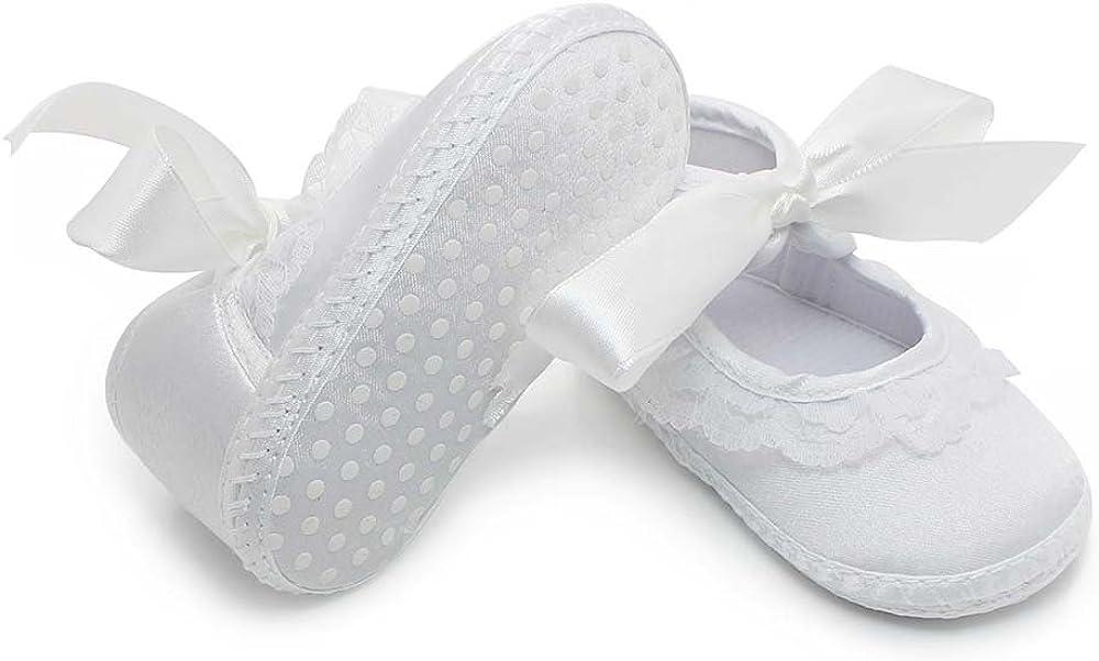 Delebao Baby Girl Infant Christening Baptism Satin Shoes Bootie Dance Ballerina Slippers