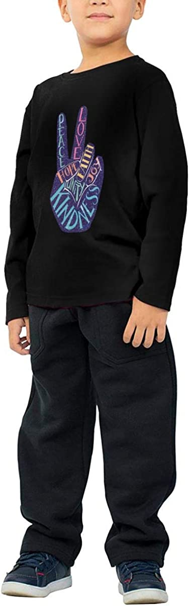 WZMD Peace Sign Decorative Childrens Long Sleeve T-Shirt for Boys Girls