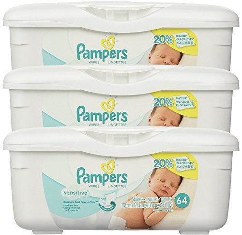 Pampers Baby Wipes Tub, Sensitive, 3 Tubs of 64 Wipes by Pampers
