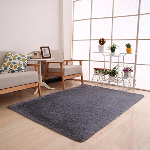 Botrong Fluffy Rugs Anti-Skid Shaggy Area Rug Dining Room Home Bedroom Carpet Floor Mat (Gray)