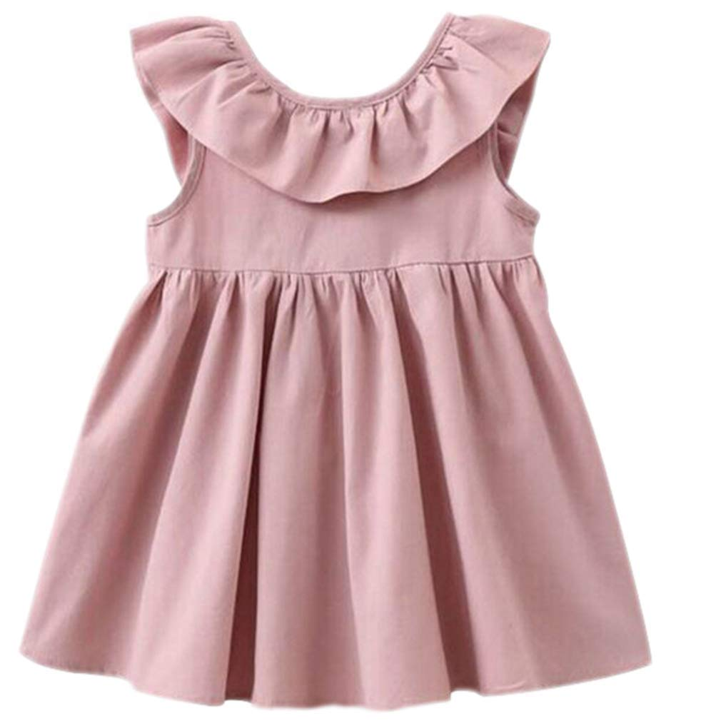 ZIYOYOR Baby Girls Summer Cotton Sundress Toddler Backless Bowknot Dress