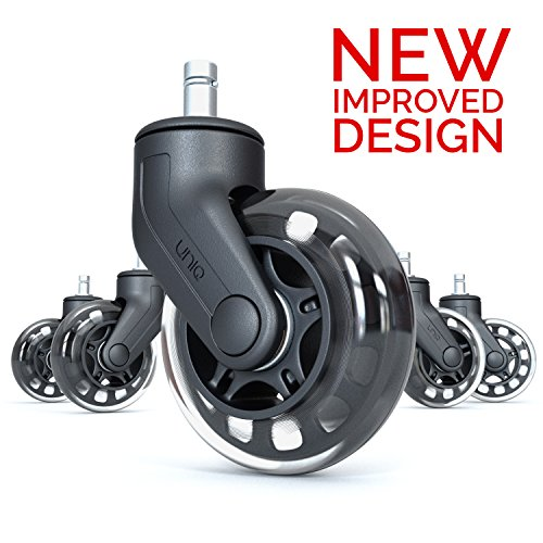 Rollerblade Office Chair Caster Wheel: Heavy Duty Safe Protection for All Floors Including Hardwood | Perfect Replacement for Desk Floor Chair Mat | Strong Nylon and Rubber Material | Universal Fit (Plastic Aeron Chair)