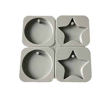 X-Haibei Star redondo aromaterapia vela yeso epoxi de jabón molde de silicona: Amazon.es: Hogar