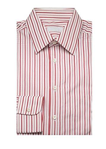 Prada Men's Spread Collar Cotton Dress Shirt Pinstriped White - Dress Red Prada