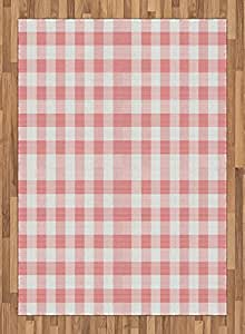 Checkered Area Rug by Ambesonne, Picnic in Countryside Themed Gingham Pattern in Soft Colors Print, Flat Woven Accent Rug for Living Room Bedroom Dining Room, 5.2 x 7.5 FT, Pink Pale Pink White