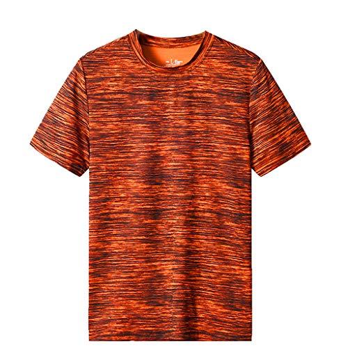 Charles Microfiber Vest - iZZZHH Men's Summer Casual O-Neck Breathable Short Sleeves T-Shirt Fitness Sport Top Blouse(Orange,XXXXL)