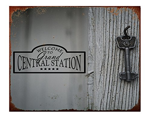 Style in Print Welcome To Grand Central Station With Key Aluminum Metal Sign Rusty Frame Wall Art - 12