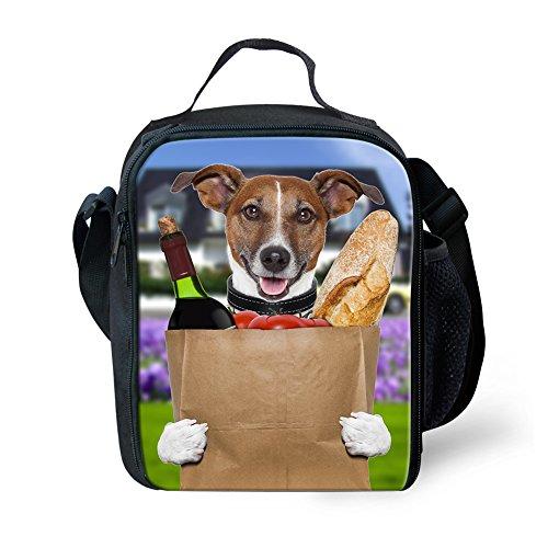 Showudesigns Zoo Animal Portable Sac à déjeuner Adulte Enfants Pique-Nique Nourriture Boîte à Lunch, Polyester, 3D Wolf, Small Color 7