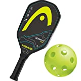 xtreme pickles - Head Xtreme Tour Graphite Black/Yellow Pickleball Paddle Bundled with Jugs High-Visibility Indoor Pickleball Balls (Set of 4)