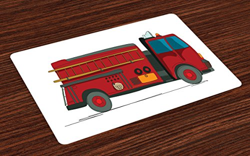 (Lunarable Fire Truck Place Mats Set of 4, Cartoon Sketch Fire Service Vehicle with a Ladder on the Side Emergency Rescue, Washable Fabric Placemats for Dining Room Kitchen Table Decoration,)