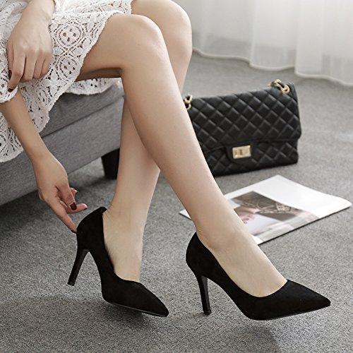 Qiqi con 5cm satén fino ocupaciones baja zapato de del entrevista elegante Xue solo 7cm chica 35 con negro 9cm punta negro tacones luz Adqz5t