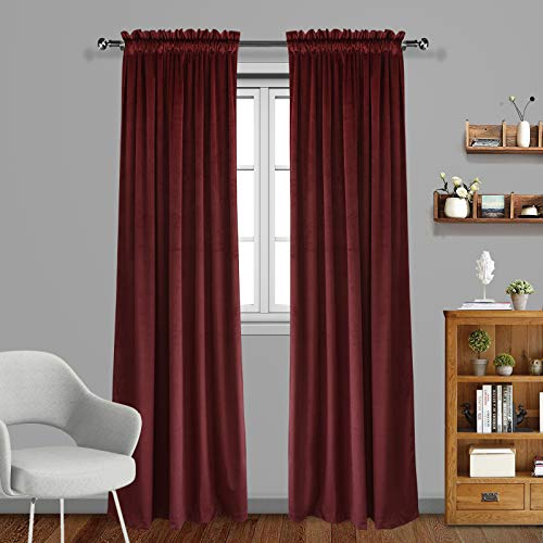 Burgundy Velvet Curtains - Eamior Living Room Blackout Velvet Curtains - Super Soft Dutch Velvet Rod Pocket Drapes Sound Reducing Heavy Solid Panels (Set of 2, 84 inch Length, Burgundy)