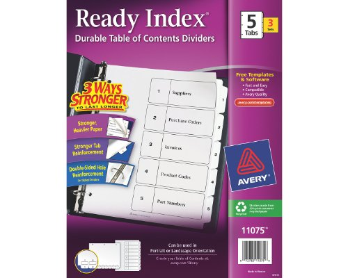 Avery Ready Index Table of Contents Dividers for Laser and Ink Jet Printers, 5-Tab Set (11075) (5 Tab Inkjet Printers)