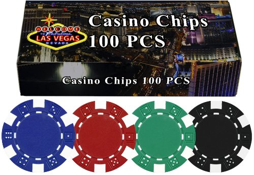 DA VINCI 100 Dice Striped Poker Chips in Las Vegas Gift Box, 11.5gm