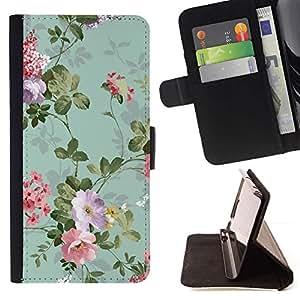 For Samsung Galaxy Note 3 III Case , Flores Viejas trullo- la tarjeta de Crédito Slots PU Funda de cuero Monedero caso cubierta de piel