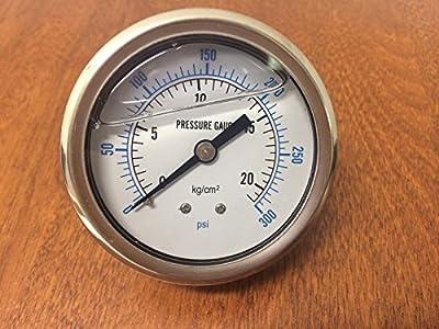 """Liquid Filled 2.5"""" Face 300 PSI Air Pressure Gauge Center Back Mount"""